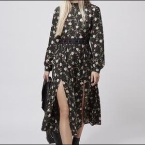 Topshop woodland floral dress with 2 splits